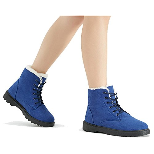 Heel Casual BLUE Cotton Flat 43 Martin Boots Suede Short Leather Women Plush Shoelace Thicker Warm Ankle Shoes vqSwR4TnZ