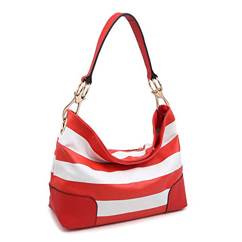 Dasein Women's Classic Faux Leather Hobo Purse Shoulder Bag Tote Handbag (7676- Red/White)