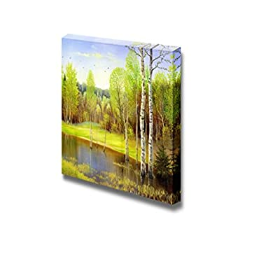 Canvas Prints Wall Art - Autumn Landscape with Trees, Oil Painting - 16
