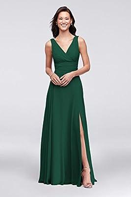 David's Bridal Long Chiffon Surplice Tank Bridesmaid Dress Style F19831