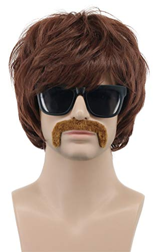 VGbeaty 70s Mens Brown Short Rocker Mustache Beard wig Halloween Anime Cosplay Costume Wig -
