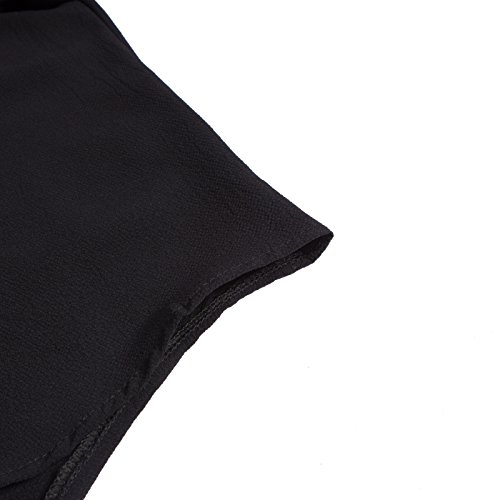 Beauty7 Camisas Mujeres de Verano V Cuello Suelto Casual Gasa Blusas de Manga Larga Camisetas Irregular Tops Tees Verano Parte Superior Baggy Playera Negro Blanco Gris Rojo Naranja Negro
