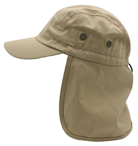 Premium Fishing Cap By Top Level - Unisex Wide Brim Adjustable Polyester Fabric Hat - With Ear & Neck Side Protection Flap - Perfect For Fishing, Hunting, Camping, Hiking, KHK(ball)