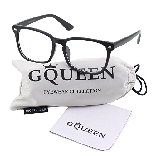 Glasses Queen 201582 Large Oversized Frame Horn Rimmed Clear Lens Glasses,Matte - Black Glasses Frames