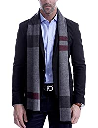 Men's Scarf, Fashion Cashmere Feel Scarves for Men Winter Autumn with Tassels Long Tartan