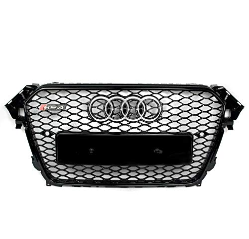 ZMAUTOPARTS For 2013-2016 Audi A4 / S4 B8.5 RS4 Style Honeycomb Mesh Hex Grille Gloss Black