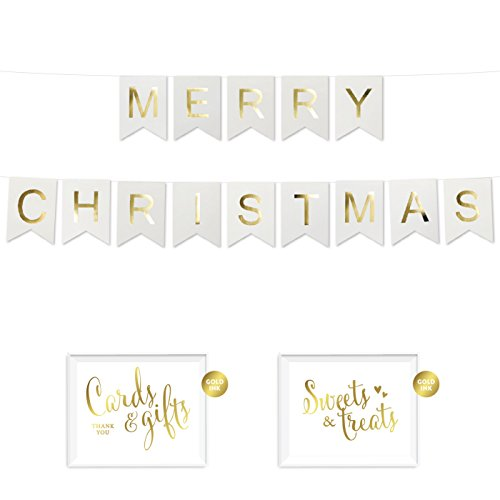 Andaz Press Shiny Gold Foil Paper Pennant Hanging Banner with Gold Party Signs, Merry Christmas White, Pre-Strung, No Assembly Required, 1-Set