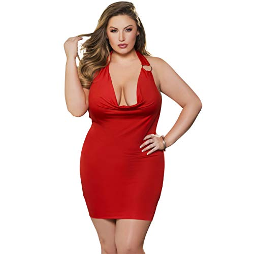 Spicy Lingerie Taking The Spotlight Minidress | Sexy Red Open Back Halter Party Dress - Women's Luxurious Club Wear