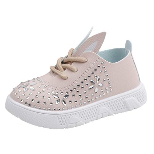 Tantisy ♣↭♣ ToGirls Cute Rabbit Ear Rhinestone Sneakers Kids Canvas Sneaker Baby Girls Casual Shoes Beige ()