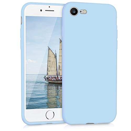 kwmobile TPU Silicone Case for Apple iPhone 7/8 - Soft Flexible Shock Absorbent Protective Phone Cover - Light Blue Matte