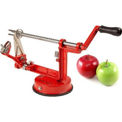 Kitchen Basics Heavy Duty Apple Peeler, Slicer and Corer, Red