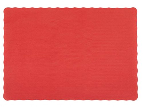 50 Red Paper Place Mats Scalloped Edge 10x14