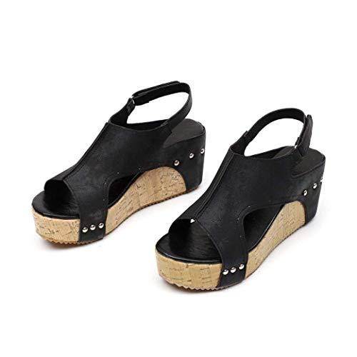 Sandales à Wedges Flip Noir Chaussures Talons BIGTREE Compensées Femme été Marche Summer Bohemian Plateforme Beach Flops Randonnee 5df8qw