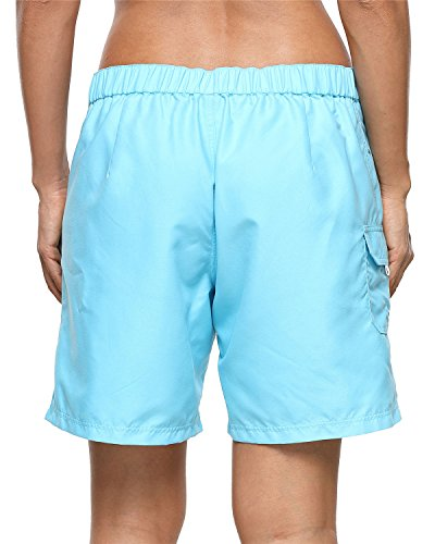 ALove Women's Loose Fit Swim Shorts Quick Drying Boardshorts Swimsuits Bottom Blue Medium by ALove (Image #2)