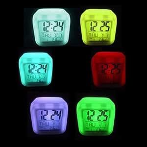 SODIAL(R) LED Color Brillante Reloj Despertador Digital Practico de Alta Calidad