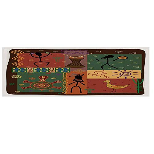 """Primitive Microwave Oven Cover with 2 Storage Bag,Funky Tribal Pattern Depicting African Style Dance Moves Instruments Spiritual Cover for Kitchen,36""""L x 12""""W"""