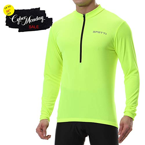 Spotti Mens Long Sleeve Cycling Jersey, Bike Biking Shirt- Breathable and Quick Dry