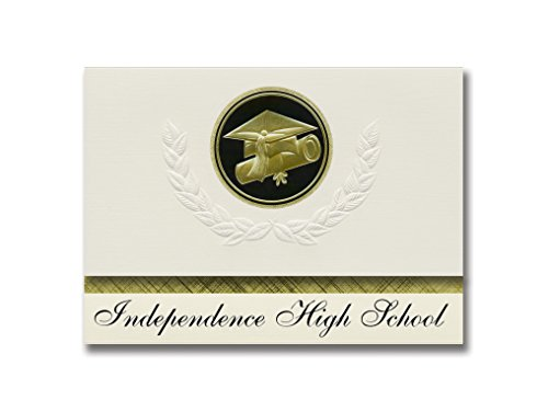Signature Announcements Independence High School (Coal City, WV) Graduation Announcements, Presidential style, Elite package of 25 Cap & Diploma Seal Black & (Party City Independence)
