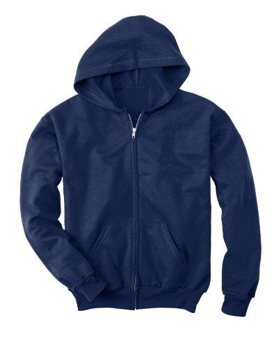 Hanes Youth 7.8 oz. ComfortBlend� EcoSmart� 50/50 Full-Zip Hood - NAVY - (Cotton Blend Zip Sweatshirt)