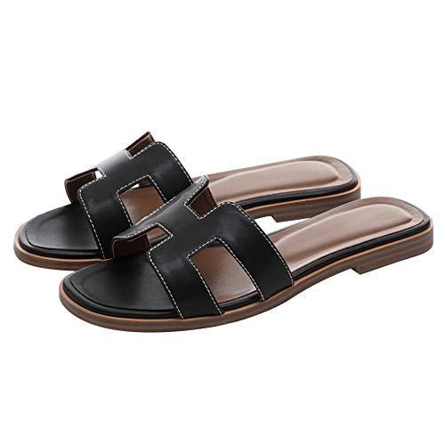 June in Love Women's Flat Casual Fashion Summer Sandals Slippers outsdoor Open Toe H Shape Slippers Matte Black 7 ()