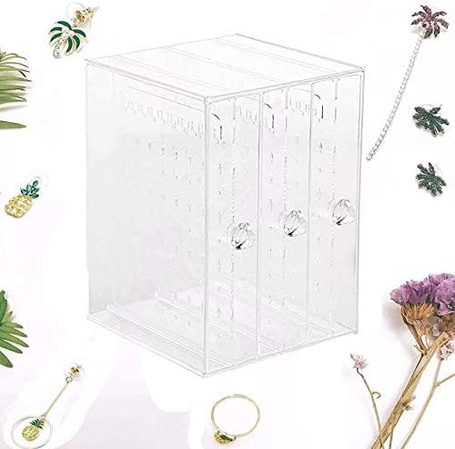 Earrings Holder with Drawers Jewelry Stand Case for Ring Bracelet Necklace iFlower Dustproof Jewelry Screen Hanger Organizer,Acrylic Jewelry Organizer Box