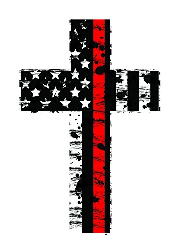 Redline Cross (2 Pack) Subdued Us Flag Reflective Decal Honoring our Firefighters, EMT, and Paramedics - Firefighter Emt Decals