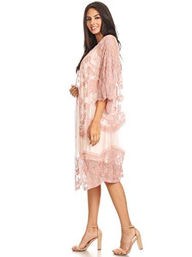 en Femme Kaci dentelle Kimono Anna brod Longue 5Z7wInq