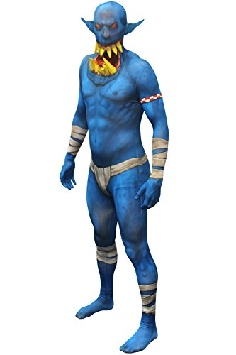 "Blue Orc Jaw Dropper Morphsuit Monster Fancy Dress Costume - size Medium - 5""-5""4 (Halloween Beating Heart App)"