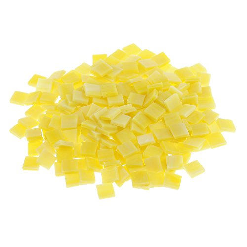 Fityle 250 Pieces Many Color Square Glass Mosaic Tiles For Mosaic Making Craft – Yellow