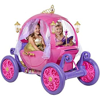 Disney Princess Carriage Ride-On with Light and Sound Effect, Pink