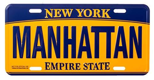 Artisan Owl Manhattan New York Empire State Blue and Gold Souvenir License Plate (Decorative License Plate New York)