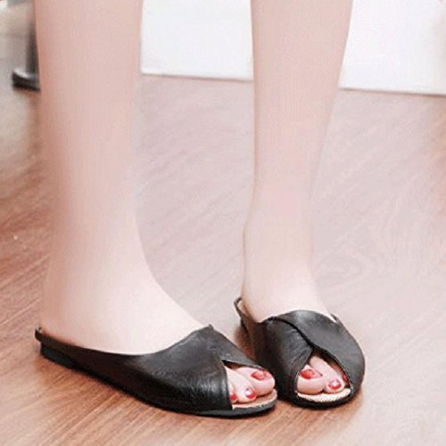Sandalias de vestir, Ouneed ® Moda mujer verano Artificial PU sandalias Peep-toe bajo zapatos ojotas Negro