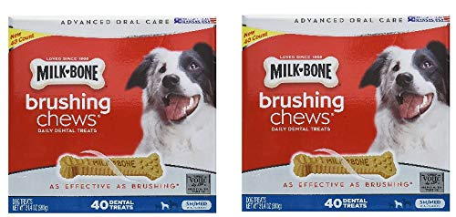 Milk-Bone Brushing Chews (Small/Medium) Value Pack of Two Boxes, Total of 80 Dental Treats 61.8 Oz (Milk Bone Brushing Chews Daily Dental Dog Treats)