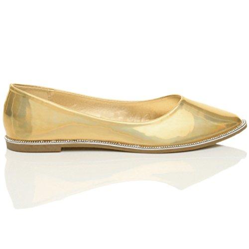 Damen Flach Spitz Strass Rand Gittergewebe Abend Ballerina Schuhe Pumps Größe Gold Schillernde Hologramm