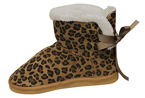 boots ankle back Womens Label C comfort Cupcake 116 warm winter suede Tan casual bow silk snow knot ribbon BRBaxH