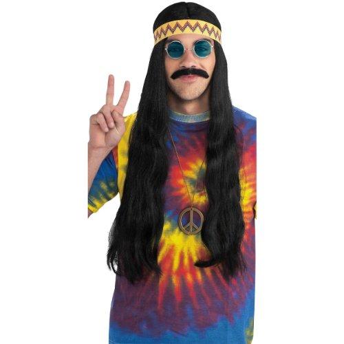 1960s Mens Costumes (Forum Novelties Men's Hippie Dude Headband Long Costume Wig, Black, One Size)