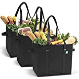 Reusable Grocery Shopping Bags, Foldable and Collapsible, Set of 3 - Large Tote Bags with Reinforced Bottom and Handles - Eco-Friendly Shop Bag Sets...