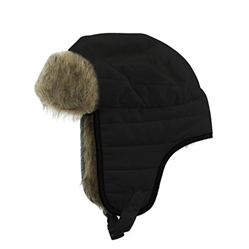 Manzella Women's Quilted Faux Fur Bomber Hat, Black (Small/Medium)