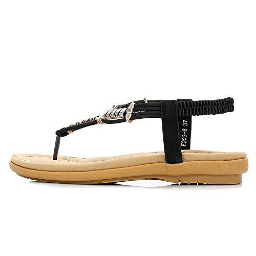 Sandal Strap Flip Sandals Bohemian Beach Back Elastic Black T Women Flops 04 Thong Wollanlily Ut6Cwq