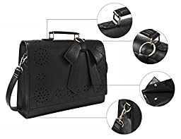 ECOSUSI Ladies Faux Leather Briefcase Shoulder Laptop Messenger Bags Satchel Bag Black Fit 14\