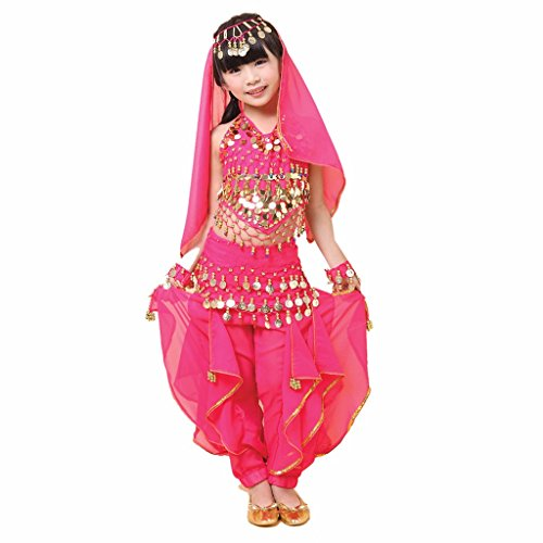 Pilot-trade Kid Girl Belly Dance Costume Harem Pants Halter Top Hip Scarf Veil Sets Dark Pink