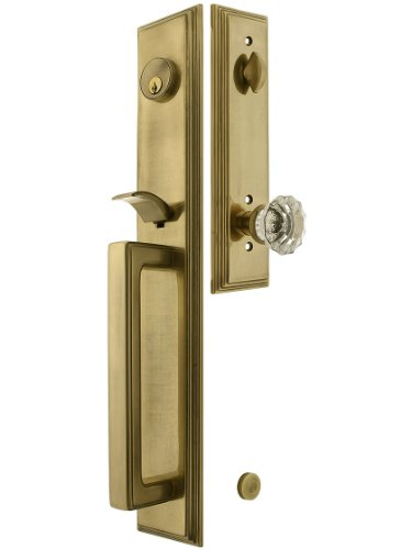Melrose Style Tubular Handleset In Antique Brass With Astoria Knob And 2 3/8