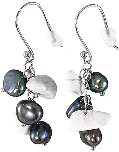 (HinsonGayle Freshwater Cultured Pearl & Howlite Dangle Earrings Sterling Silver)