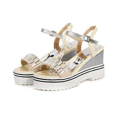 AllhqFashion Women's Solid PU High-Heels Open Toe Buckle Sandals Beige 2fITEu