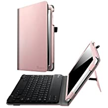 Fintie Samsung Galaxy Tab E 9.6 Keyboard Case - Slim Fit PU Leather Stand Cover with Premium Quality [All-ABS Hard Material] Removable Wireless Bluetooth Keyboard, Rose Gold