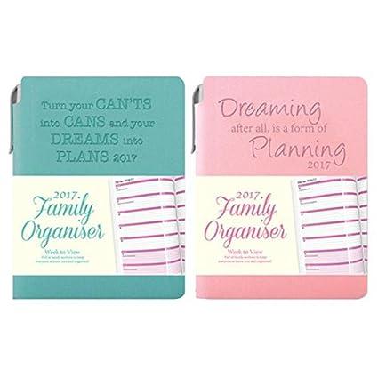 Agenda 2017, A6, semana vista, diseño para familia con tapa flexible y bolígrafo, 1 unidad, color rosa