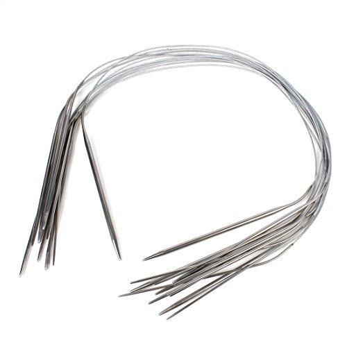 eDealMax 11 x Circular de Acero inoxidable agujas de tejer 60 cm Longitud de tono de Plata