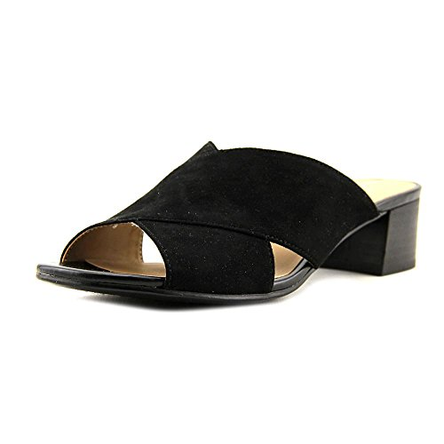 Naturalizer Arielle Women Open Toe Canvas Gray Slides Sandal, Black, Size 8.0 (Canvas Open Toe Wedge Heel)