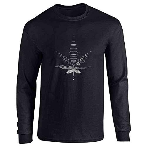 Pot Leaf Trippy Spiral Black XL Long Sleeve T-Shirt