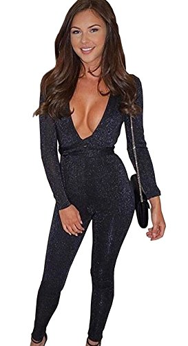 Longwu Women's Sexy Sparkly V Neck Long Sleeve Party Clubwear Bandage Romper Jumpsuit Black-L (Sequin Jumper)